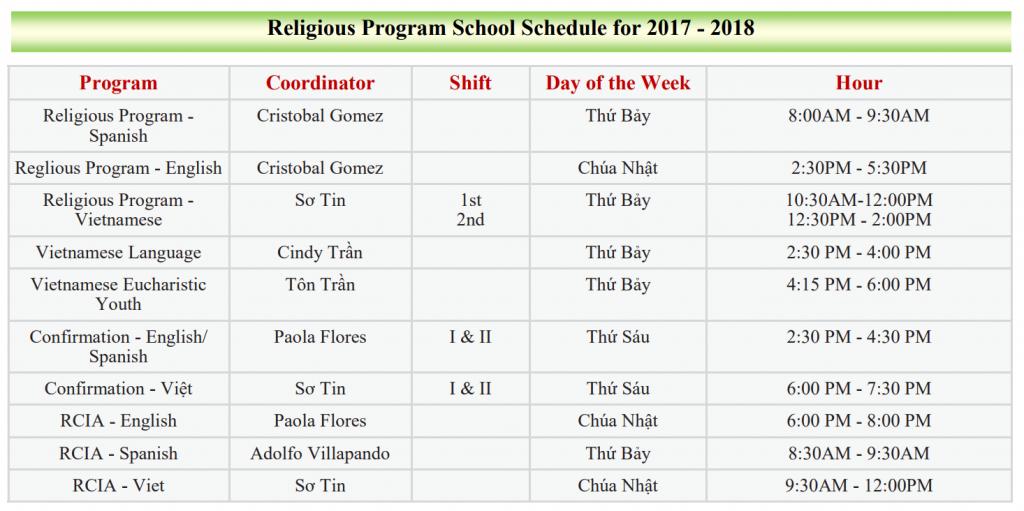 School schedule 2017-2018