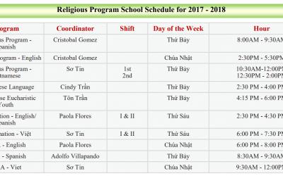 Religious Program School Schedule for 2017 – 2018