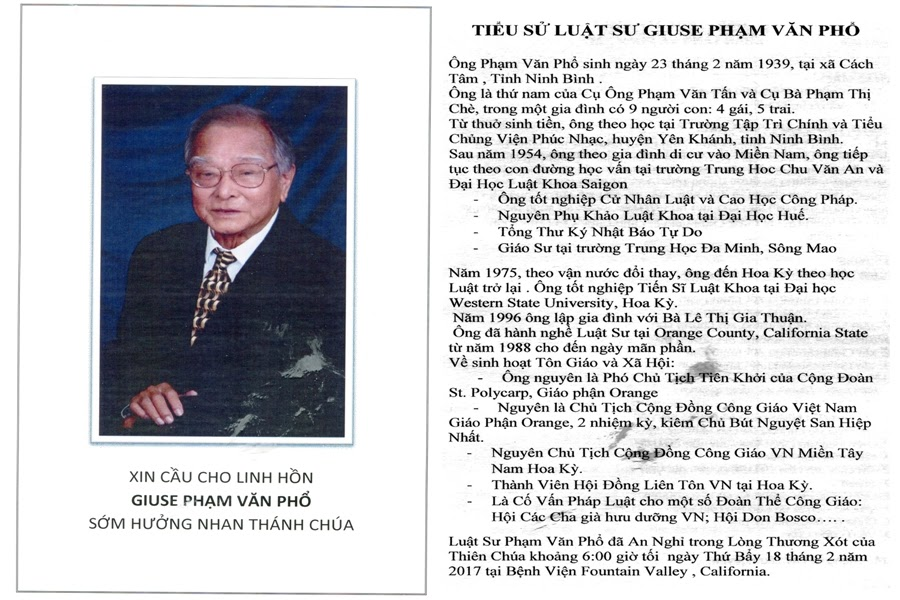 Tang Lễ Luật Sư Giuse Phạm Văn Phổ